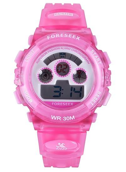 FSX-519G Reloj digital niñas resistente al agua LED reloj de muñeca (rosa)