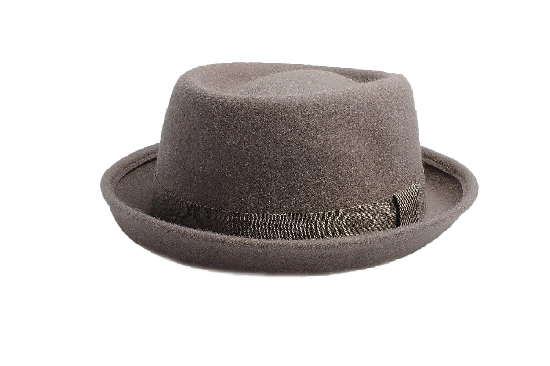 Accessoryo Unisex Grigio Lana Cappello Pork Pie Cappello Disponibile in Una Selezione di Taglie