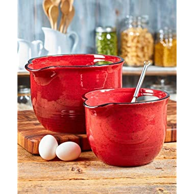 Set of 2 Oversized Farmhouse Bowls - Red
