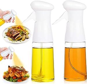 Olive Oil Sprayer 2PACK Vegetable Spray Bottle for Cooking Oil, Refillable Spritzer Dispenser Reusable Vinegar Essential Oils Plastic Bottle Food Grade for Kitchen Air Fryer BBQ Salad Baking 7Oz/200ML