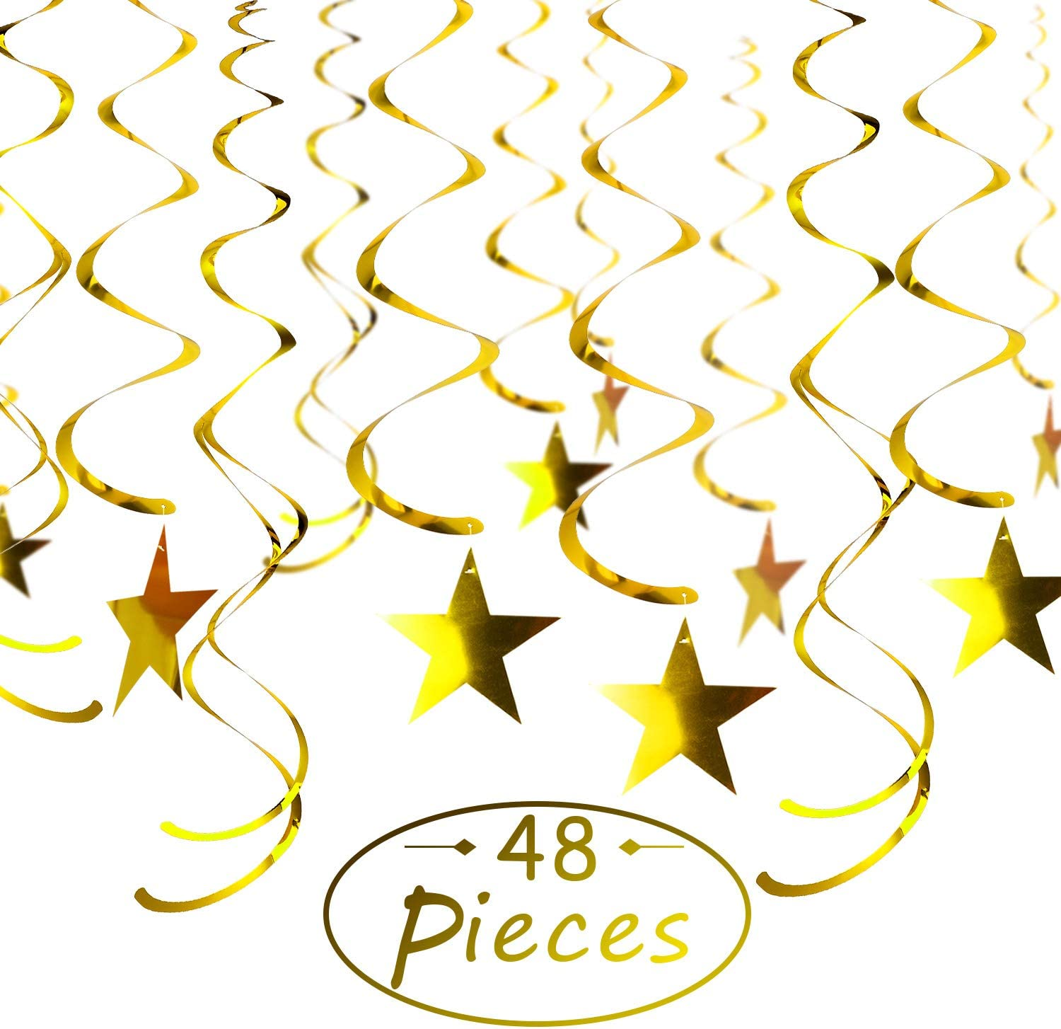 Boao 48 Pieces Gold Stars Swirls Hanging Shiny Twinkle Foil Swirl Decorations Hanging Swirl for Ceiling Whirls Wedding Birthday Party Christmas Halloween