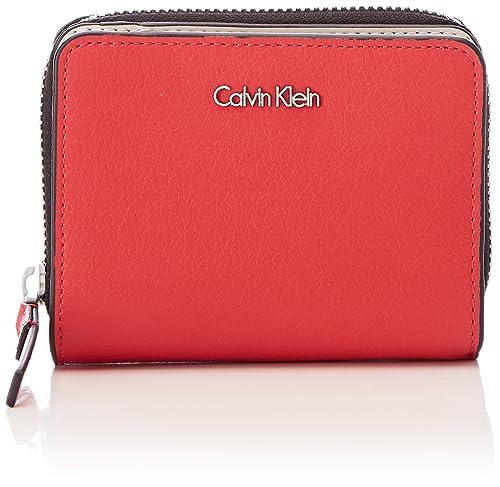 Calvin Klein - Frame Medium Zip W/Flap, Carteras Mujer, Rojo (Scarlet