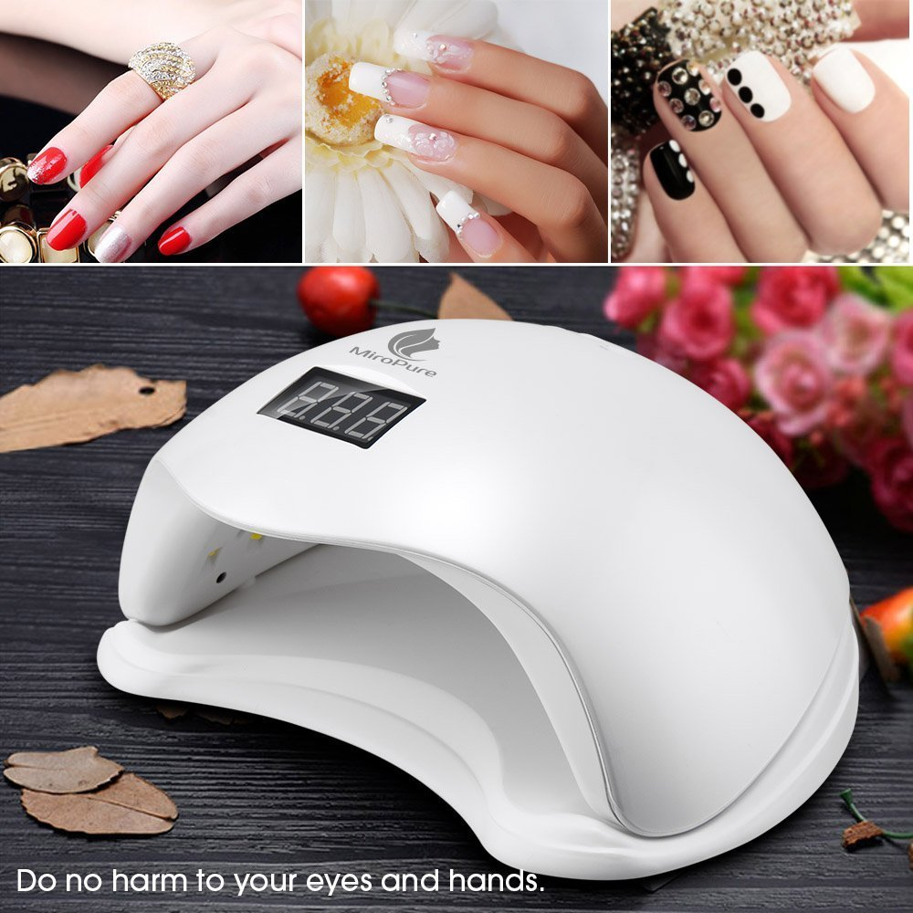 MiroPure 36W UV LED Nail Lamp with 4 Timer Setting and 2 Nail Files