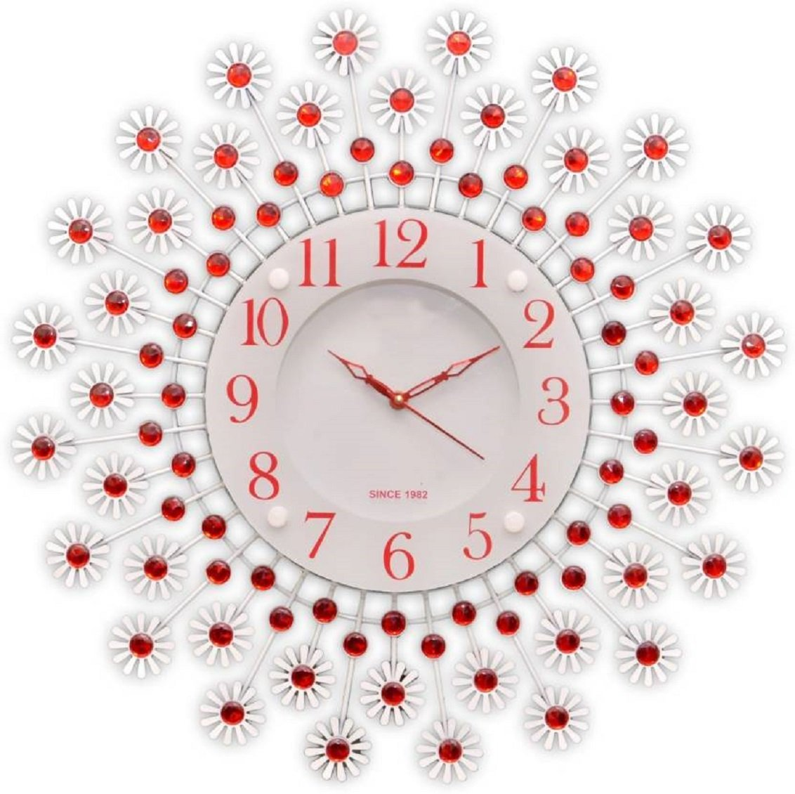 Degosh Circular Analog Red&White Metal Glass Wall Clock