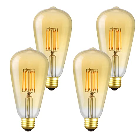 Great Revel 6.5W LED Vintage Edison Light Bulb, 4 Pack, Amber Glow+