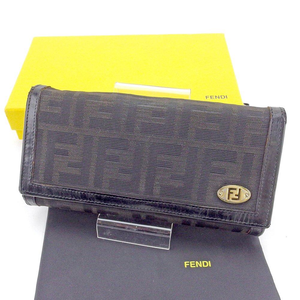 (フェンディ) Fendi 長財布 財布 L字ファスナー 三つ折り ブラック×ゴールド ズッカ レディース メンズ 可 中古 T4293   B077ZYSZYZ