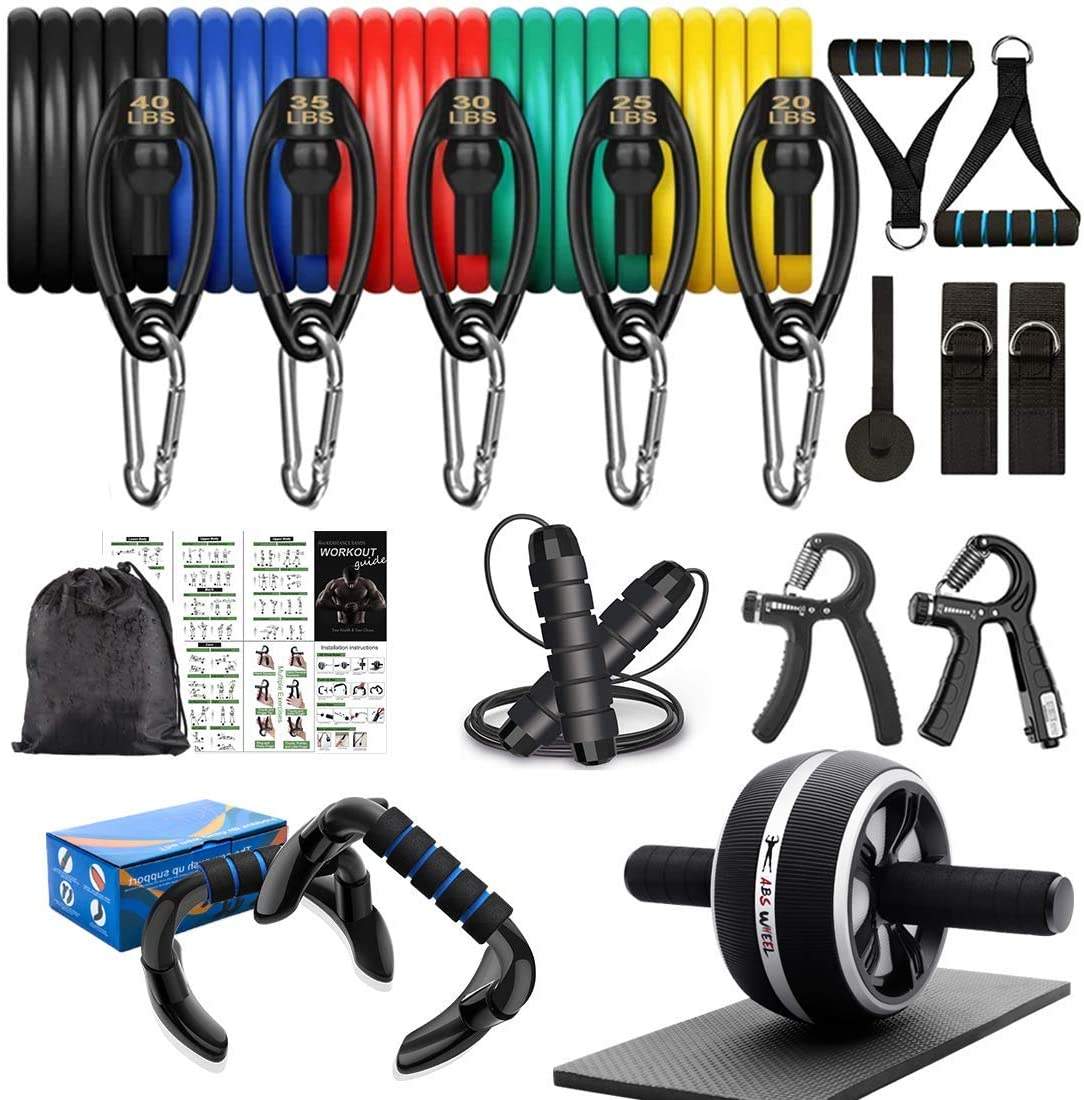 8-in-1 Resistance Bands Set Exercise Bands AB Wheel Roller with Knee Pad Push Up Bars Hand Grip Strengthener Adjustable Skipping Jump Rope Home Gym Workout Exercise Equipment for Men Women