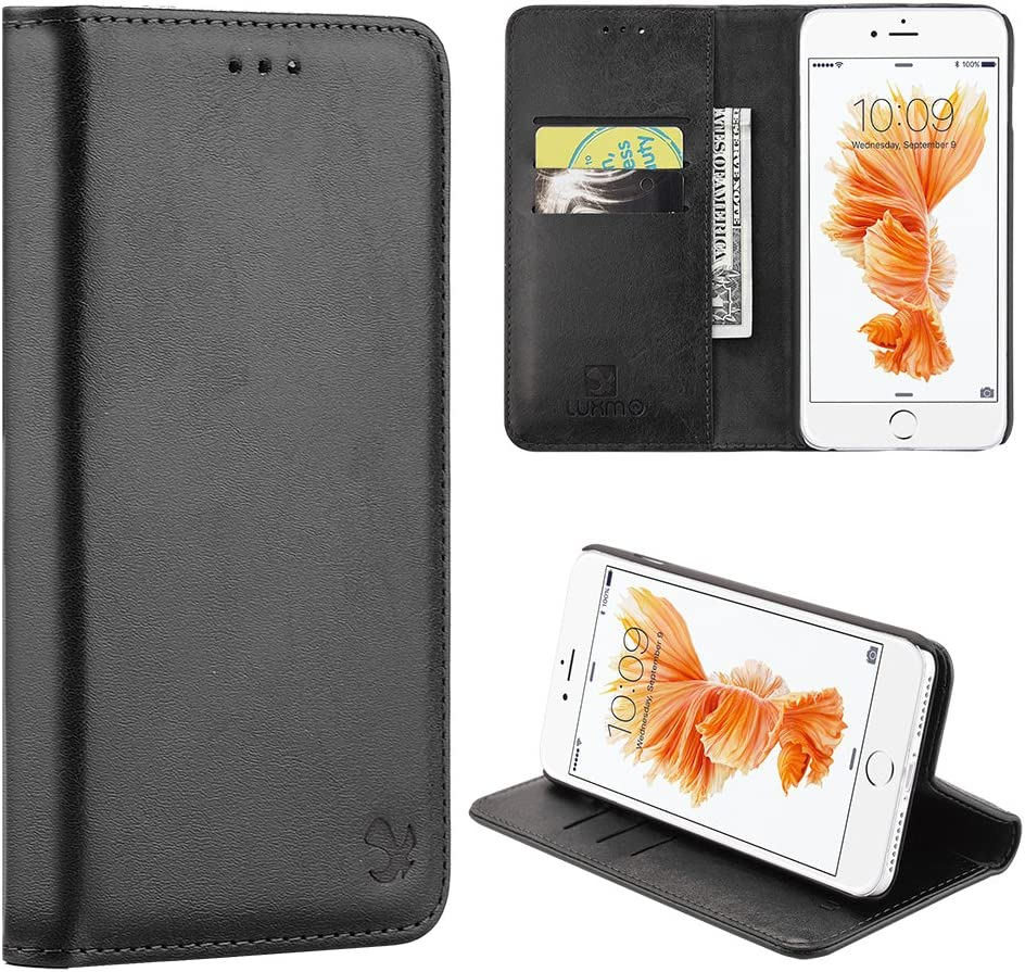 LUXMO LUXURY MOBILE 2305558 Dream Wireless Stand Folio Flip Leather (Card Slot) Wallet Flap Pouch Case Cover for Apple iPhone 7/8, Black