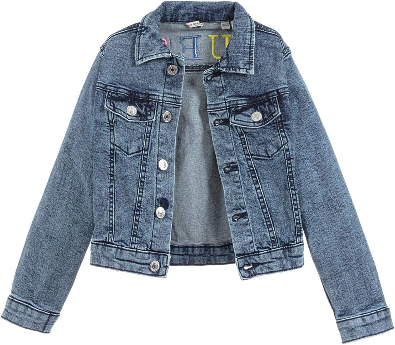 Guess Giacca Giubbino Jeans con Logo in Denim di Cotone Blu Bimba Bambina