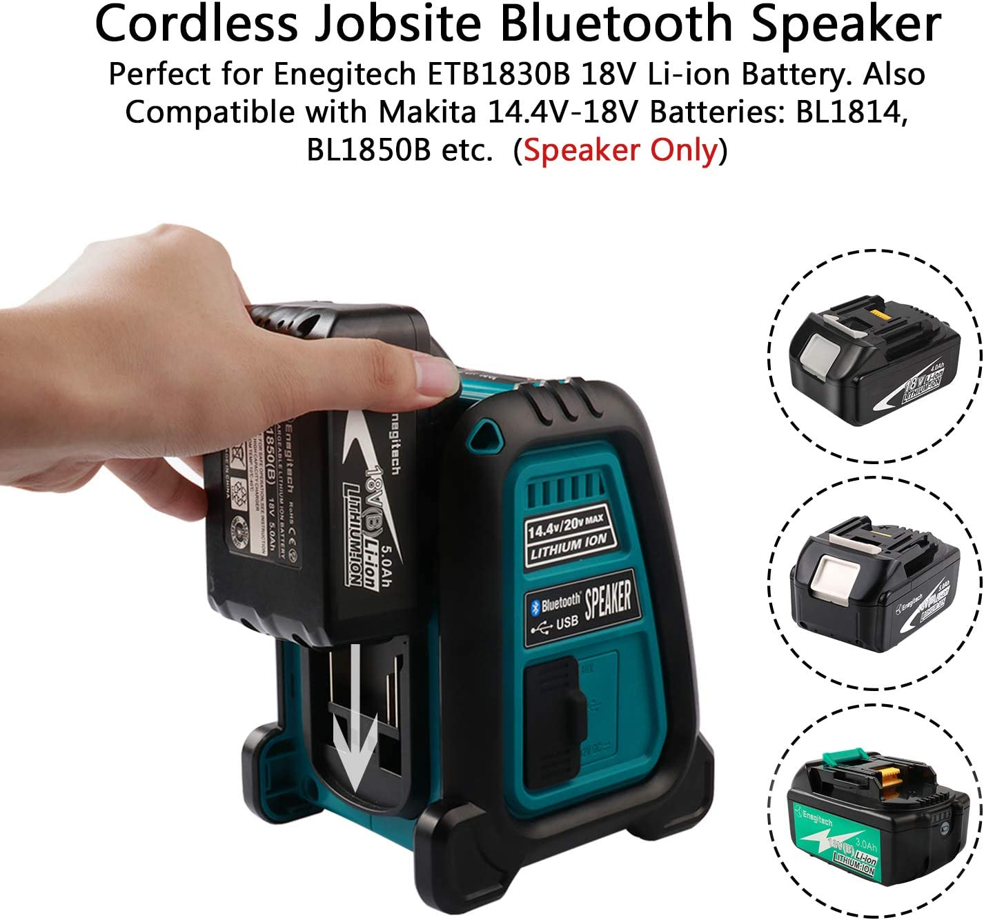 Jobsite Bluetooth Speaker 14.4V-20V Li-ion Job Site Speaker with Bluetooth Wireless Outdoor//Indoor Speaker for Construction Garage Industrial Battery Not Included