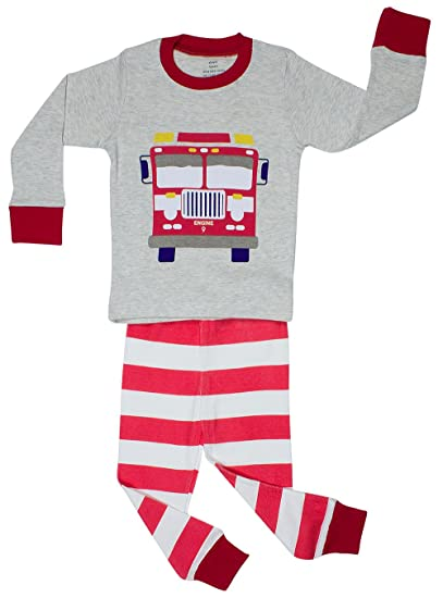 6db1cd4f6 Amazon.com  Elowel Little Boys Fire Truck 2 Piece Pajama Set 100 ...