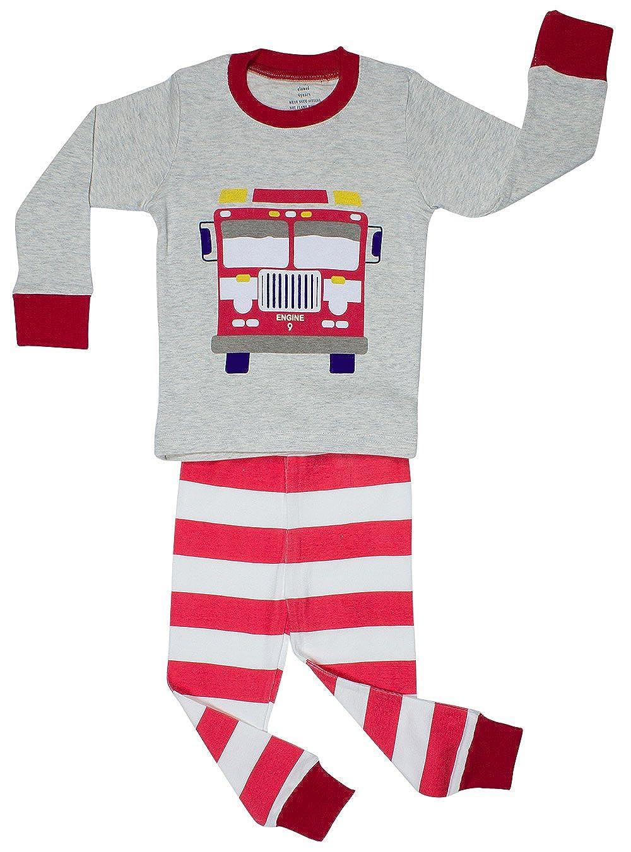 firetrucklb3 Elowel Little Boys Fire Truck 2 Piece Pajama Set 100/% Cotton Size 2-8