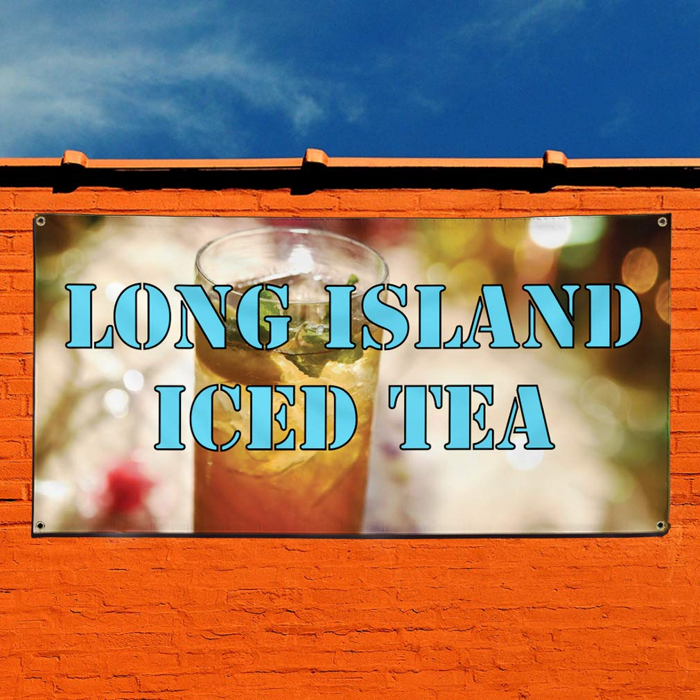 Vinyl Banner Sign Long Island Iced Tea #1 Outdoor Marketing Advertising Aqua-Blue 8 Grommets One Banner Multiple Sizes Available 44inx110in