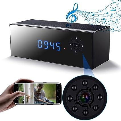 Cámara Espia Oculta Inalámbrico Wifi Altavoz, Reloj de la Cámara HD 1080P Con Visión Nocturna