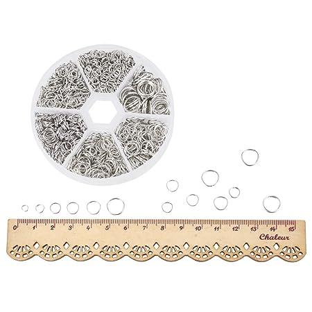 Platino,4~10x0.7~1mm PandaHall 1 Scatola Anellini Aperti in Ferro Anellini Bigiotteria Senza Nichel