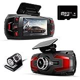 Dash Cam, Car Full HD 1080P Dash Camera Dual Lens Recorder Front + Rear Dashboard Camera with G-Sensor, Loop Recording, Parking Monitoring, Motion Detection Free 16GB Memory SD Card