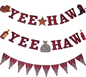 3 Pieces Cowboy Banner Yee Haw Banner Bandana Pennant Banner Wild West Party Accessory for Western Cowboy Party Themed Decoration