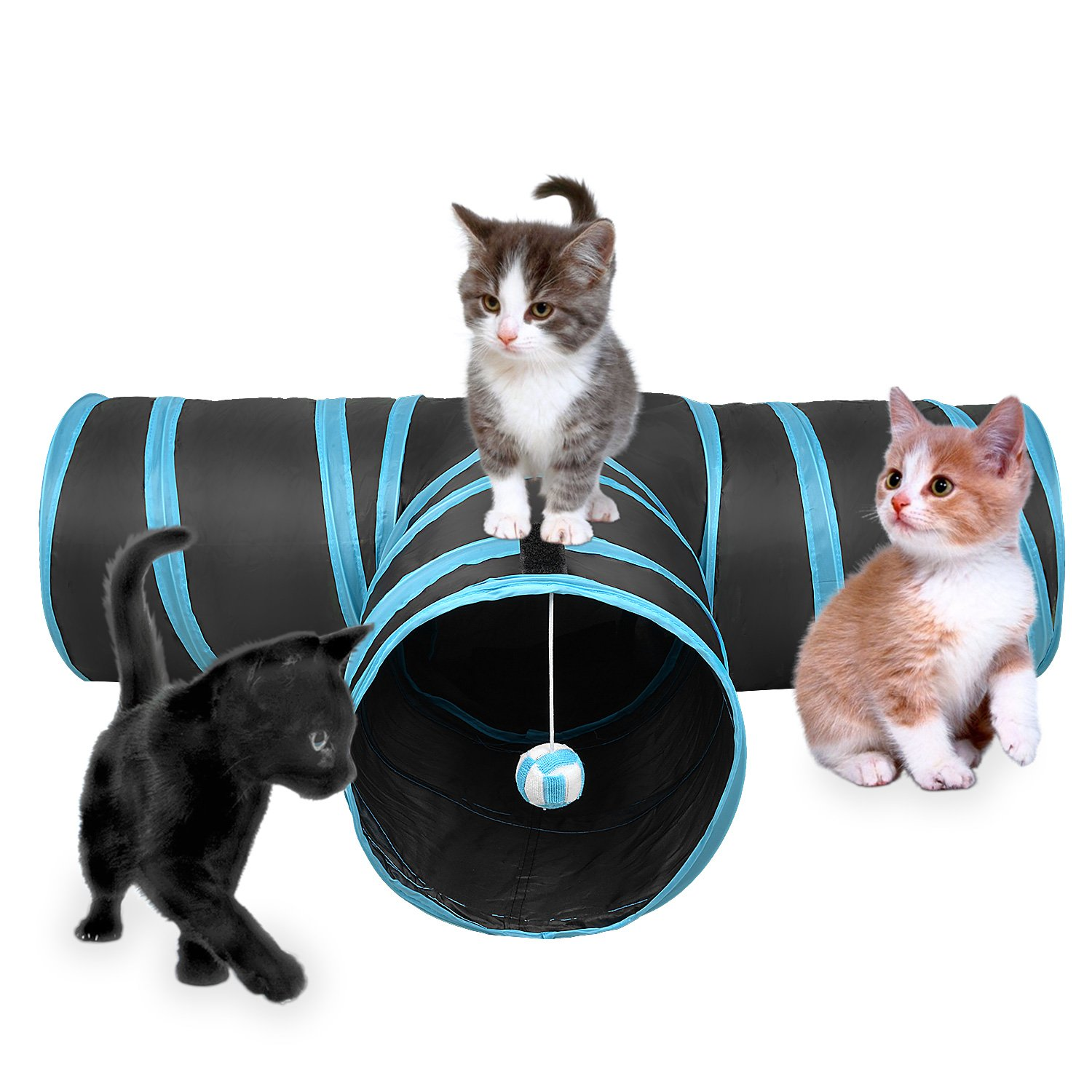 3 Way Cat Tunnel Creaker Collapsible Pet Toy Tunnel with Ball for Cat Puppy K...
