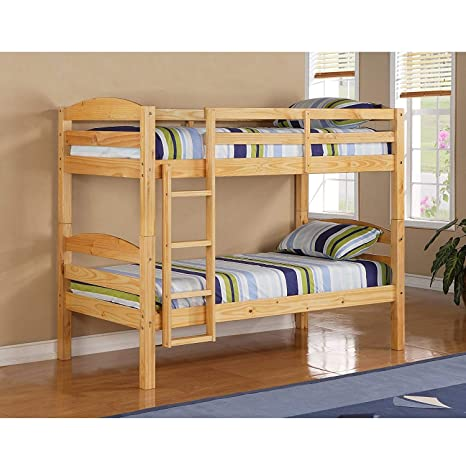 Amazon Com Bunk Beds For Kids Toddler Twin Over Twin Wood Natural