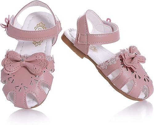 JUERYEE FASHION Toddler Girls Flower Closed-Toe Strap Sandals Summer Flat Princess Shoes