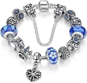 A TE® Charm Pulsera Abalorio Murano Cristal Vidrio Perlas con Cadena de Seguridad Chapado Blanco Oro #JW-B110