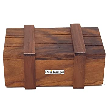 Desi Karigar Handmade Indian Wooden Puzzle Magic Box Game (Brown)