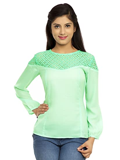 1d0d837a04c290 Kiwi Green Color Causal Lace Top: Amazon.in: Clothing & Accessories