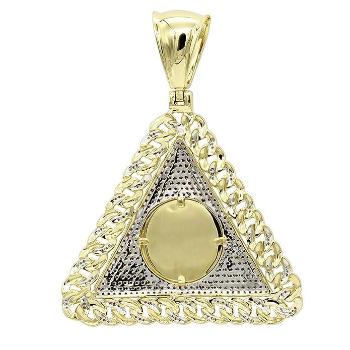 24c0d8f693e Mens Diamond Pendant 10K Gold Liberty Coin Cuban Link Triangle 1ctw (Yellow  Gold)