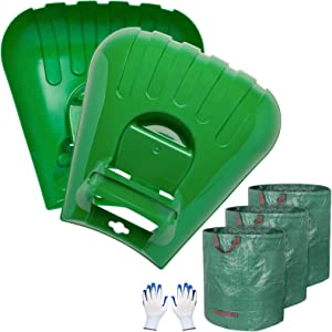 Decorlife Leaf Scoops Large Hand Rakes, Sturdy Ergonomic Handheld Rakes Comes with 3-Pack 72 GA Yard Waste Bags and 1-Pair Gloves for Fast Pick Up Leaves, Grass Clippings, Lawn Grass Removal