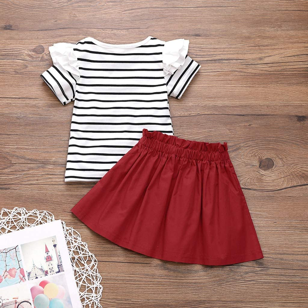 Summer 2pcs Girl Outfit 1-6 Years Toddler Little Kid Child Stripe Print Ruffle Short Sleeve Tops Bowknot Skirt Set