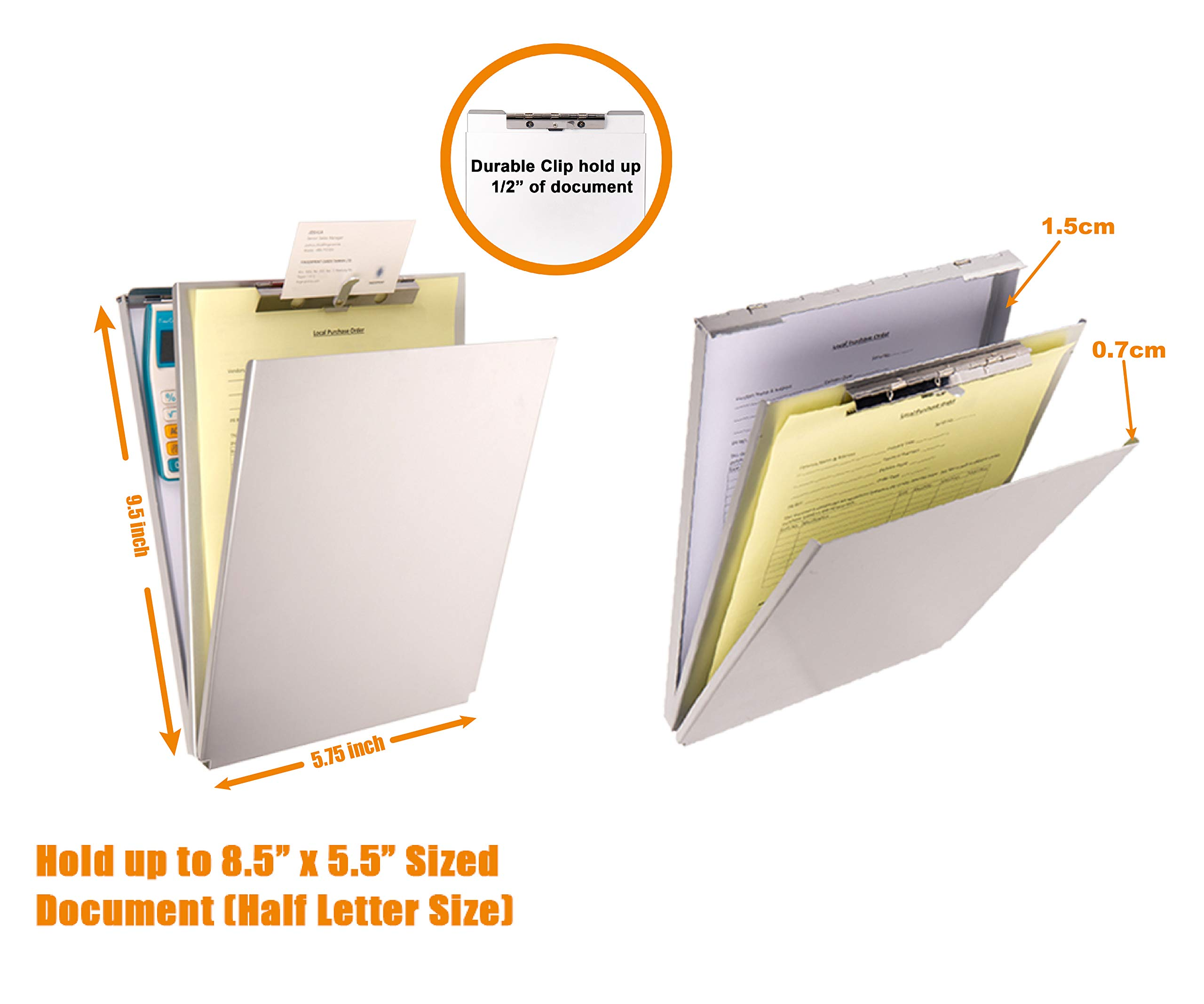 Summit Tools Dual Storage Aluminum Clipboard - Memo Size (9.5 x 5.75 Inches) Document Holder with Self Locking Latch, Form Clip, 2 Storage Compartment [2- Pack] by Summit Tools (Image #6)
