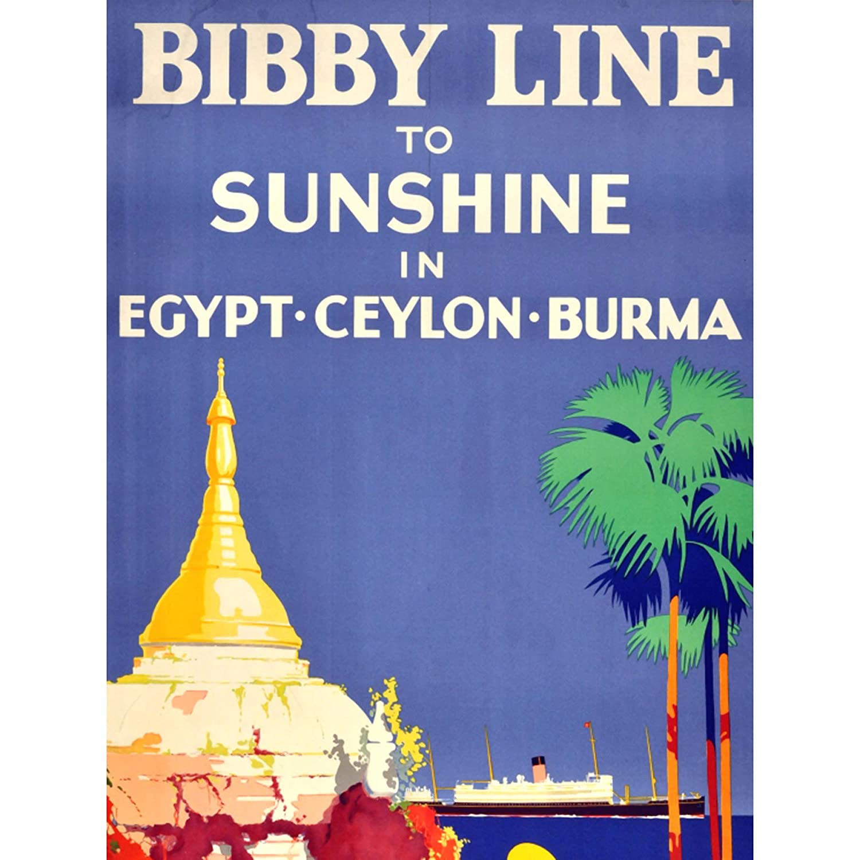 TRAVEL BIBBY LINE EGYPT CEYLON BURMA SHIP FINE ART PRINT POSTER 30x40cm CC1940