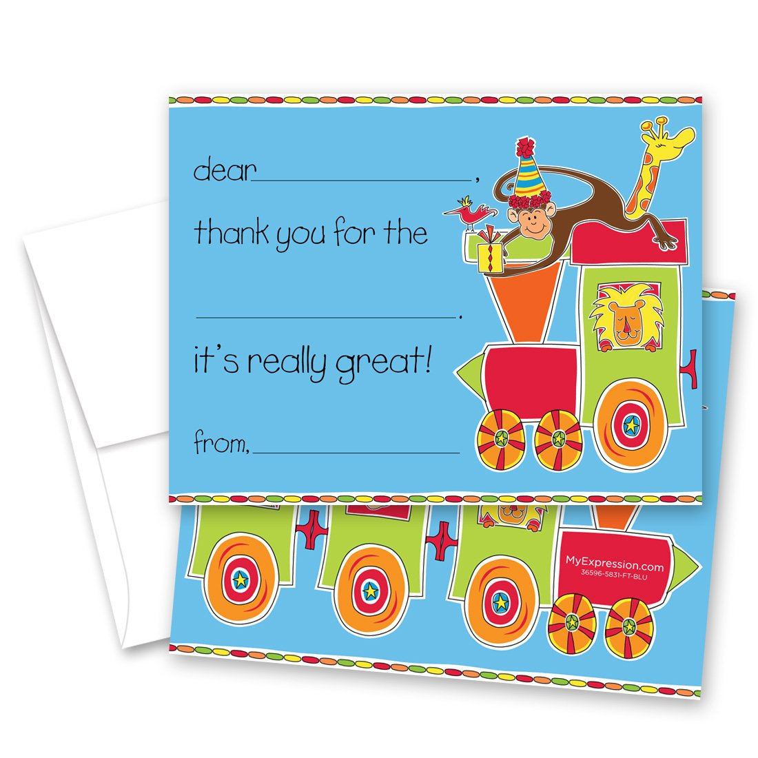MyExpression.com 20 Choo Choo Train Safari Animals Children Fill-in Birthday Thank You Cards