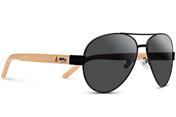 treehut wooden bamboo sunglasses temples classic aviator retro metal frame top gun wood sunglasses black