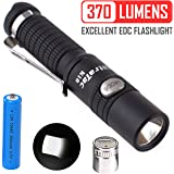 UltraTac K18 Powerful Keychain Flashlight, CREE LED Keyring Light 370 Lumen Side Button Switch High Lumen Waterproof USB Rechargeable w/ 10440 Battery and Charger (Black)