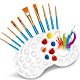 DOMMARE 10 Pcs Paint Brushes Set with 6 Pcs Paint Palettes Trays Plastic for Kids Acrylic DIY Craft Art Painting Round Pallet