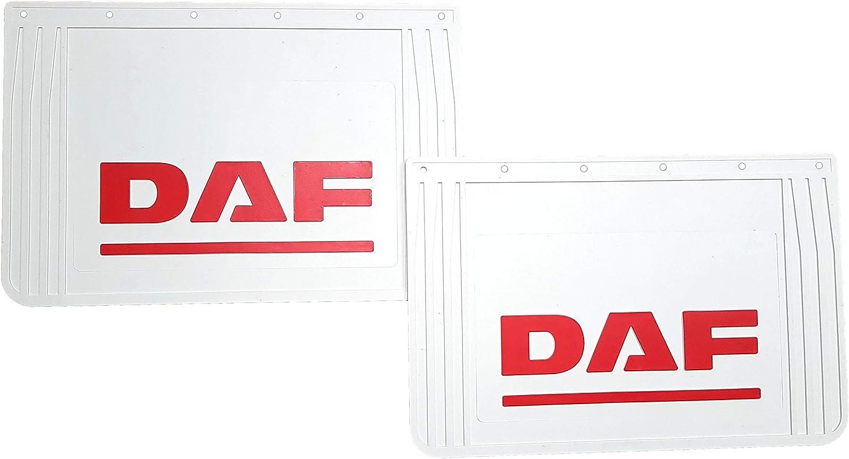 2er Set Strapazierfähige Gummi Schutzbleche Für Den Rücken Weiß Mit Roter Prägung Für Lkw Anhänger 60 X 40 Cm Auto