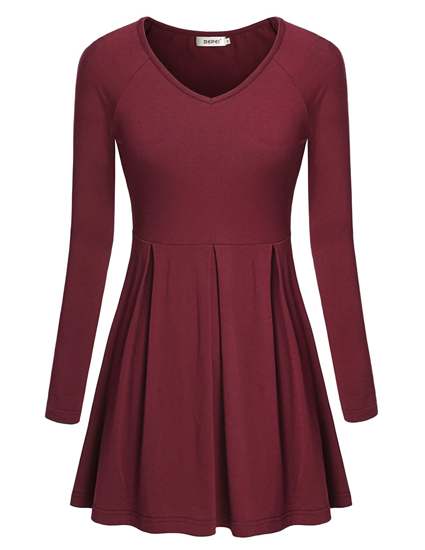 8da1fd61f98 BEPEI Womens Raglan Long Sleeve Scoop Neck Flare Pleated Tunic Top Wine 2XL  at Amazon Women's Clothing store: