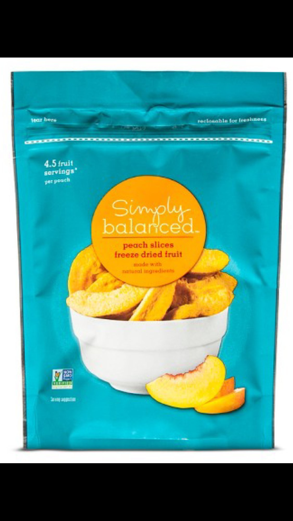 Simply Balanced Peach Slices Freeze Dried Fruit, 1.25 Ounce Bag, 4.5 Fruit Servings per bag