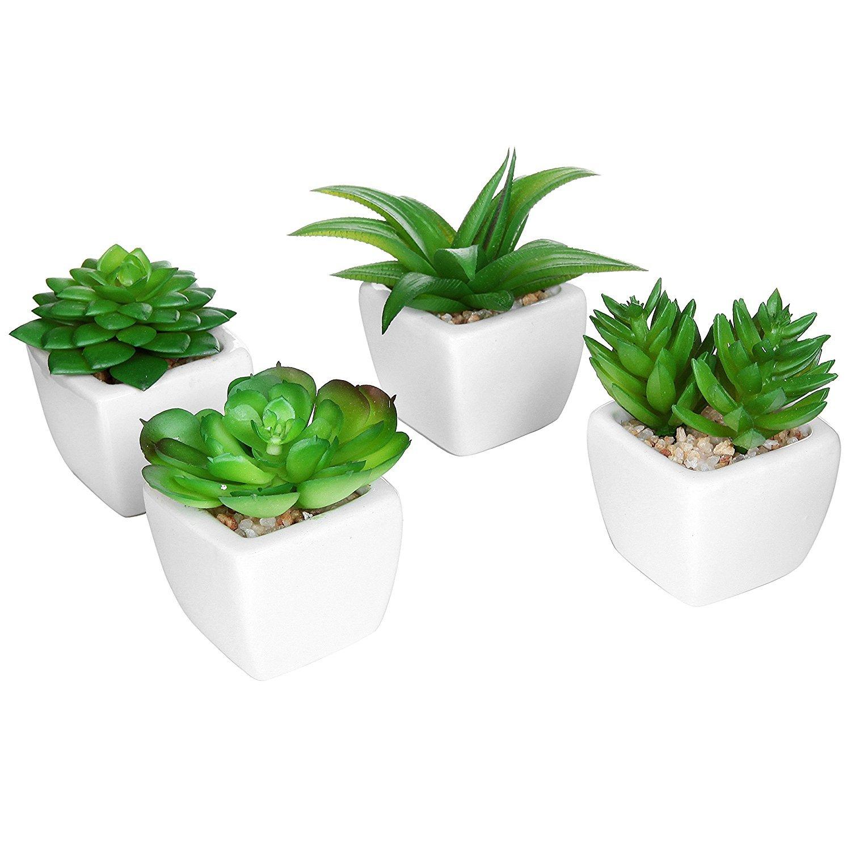 Set of 4 Modern White Ceramic Mini Potted Artificial Succulent Plants / Faux Plant Home Decor - MyGift