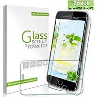 Youer iPhone 8 / 7 / 6s / 6 Plus Panzerglas Schutzfolie,[2 stück] 9H Härte ,Klar Glatt,Ultra-dünner HD Displayschutzfolie,Anti-Fingerabdruck, Anti-Kratzer, Anti-Öl, Blasenfreie, für Screen Protector iPhone 8/7/6s/6Plus.