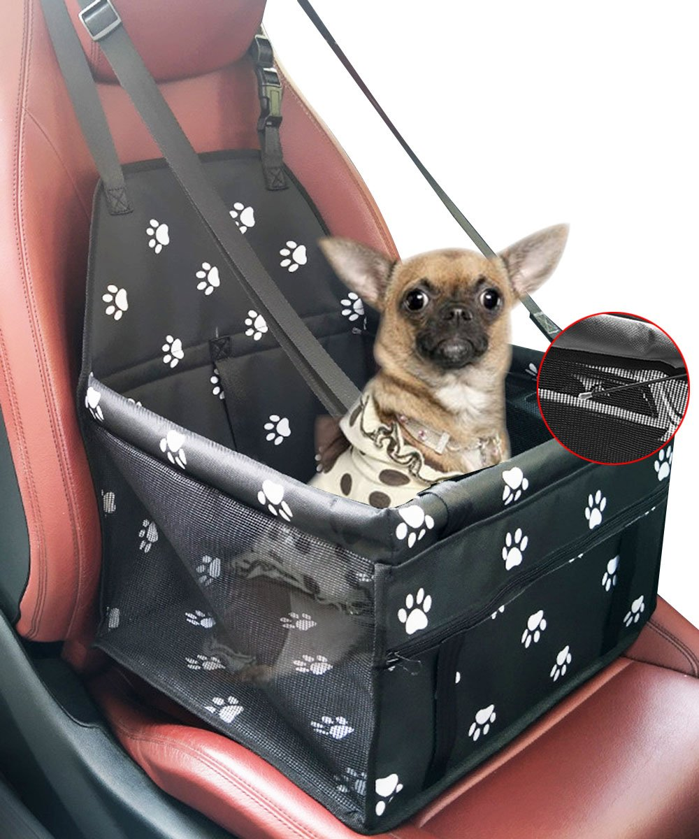 loveone Pet Car Booster Seat, Lmlly Collapsible Scratch Proof Waterproof Travel Safety Seat with Belt, Zipper Storage Pocket for Dog, Puppy, Cats (Black)
