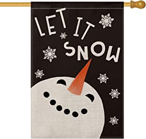 AVOIN Let It Snow Snowman Snowflake House Flag Vertical Double Sized, Winter Holiday Christmas Yard Outdoor Decoration 28 x 40 Inch