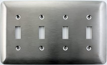 4 switch wall plate double mulberry princess style satin stainless steel gang toggle light switch wall plate