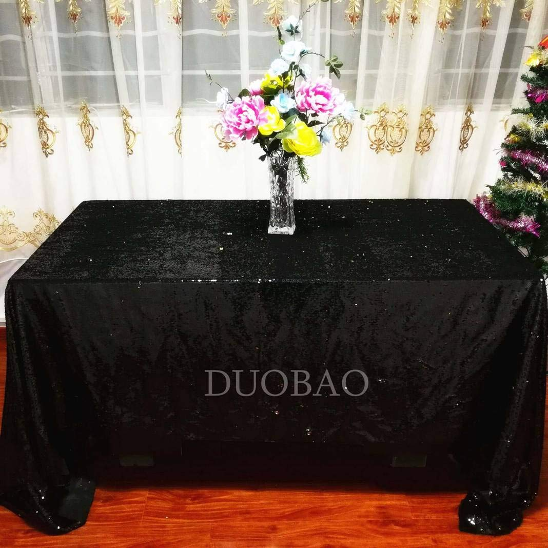 DUOBAO Sequin Tablecloth 60x84-Inch Gold Mermaid Sequin Fabric Black to Gold Glitter Tablecloth Reversible tablecloths for Rectangle Tables~0516 by DUOBAO (Image #3)