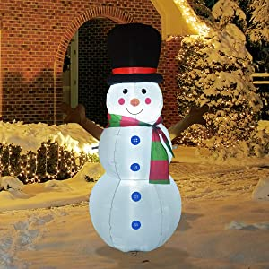 GOOSH 4Foot High Christmas Inflatable Tree Branch Snowman Yard Decoration, Indoor Outdoor Garden Christmas Decoration.