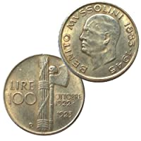 Moneta collezione 100 Lire Italia 1922 1923 Fascismo Mussolini fascio littorio