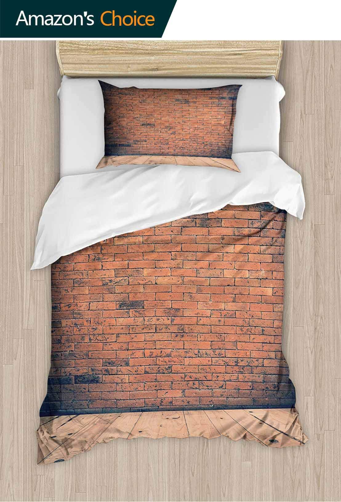 PRUNUSHOME Softest Bedding Old Fashi ed Bricks Dark Antique Wood Floor V Tage Ancient Retro Soft and Comfortable King
