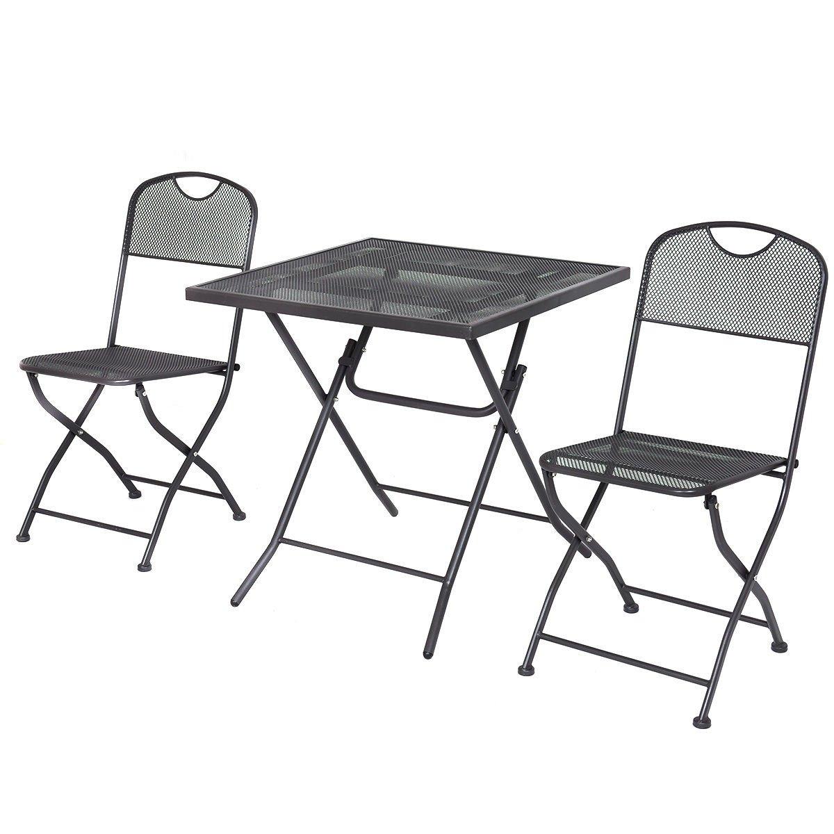 Giantex 3 PCS Outdoor Patio Bistro Furniture Set Steel Mesh Frame Bistro Square Table (Black)