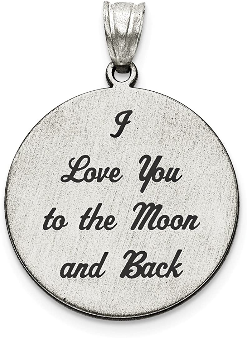 925 Sterling Silver Love You To The Moon Brushed Pendant Charm Necklace Saying Phrase Disc I Back S//love Message Fine Jewelry For Women Gifts For Her